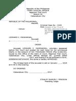 Practice Court - Release Order VAWC