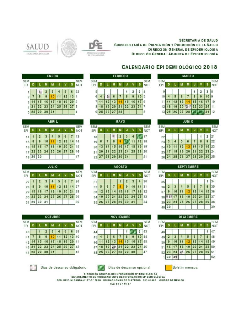 Calendario epidemiológico 2018. - photo#19