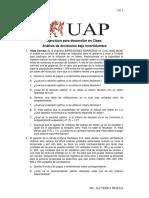 01-Problemas Para Clase Sobre Analisis de Decisiones Bajo Incertidumbre