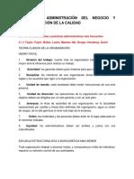 Unidad 2 Administración Del Negocio y Estandarización de La Calidad
