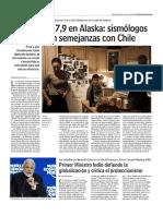 Diario Las Últimas Noticias de Santiago, Chile 24-01-2018 Terremoto 7,9 en Alaskaꓽ Sismólogos Explican Semejanzas Con Chile.