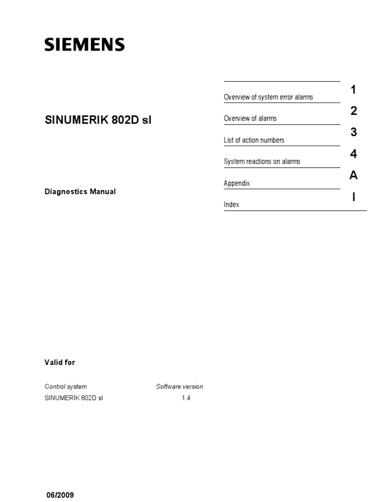 Sinumerik 802D Sl: Diagnostics Manual