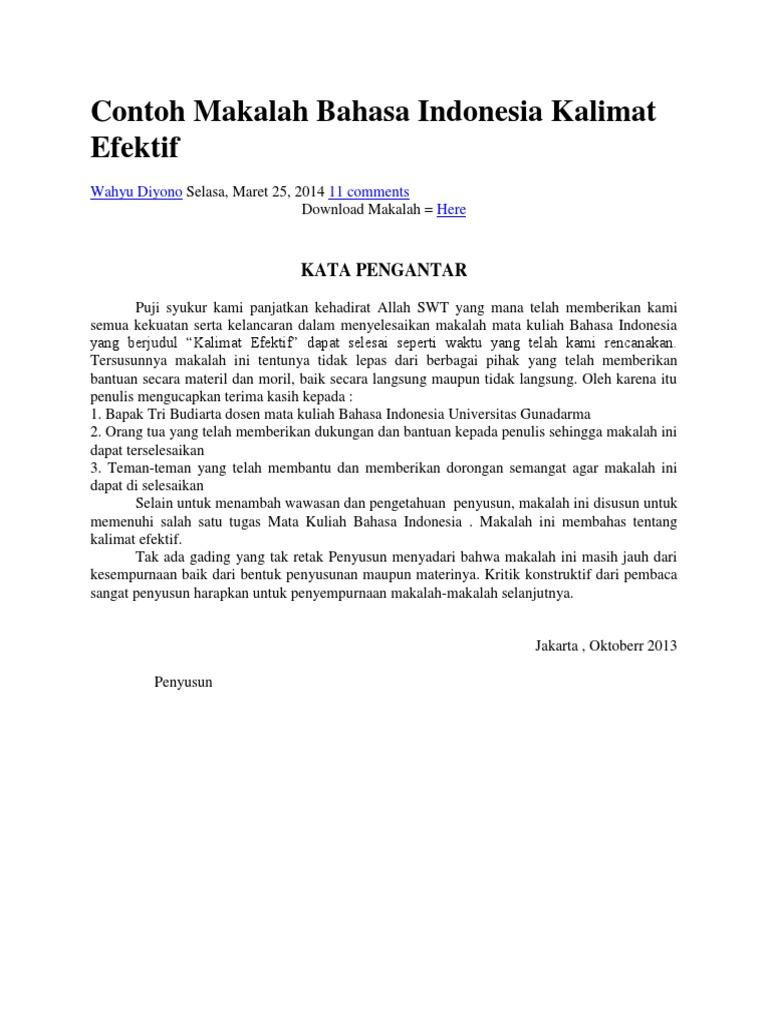 Contoh Makalah Bahasa Indonesia Kalimat Efektif