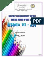 Accmplishment Report Grade Six Am July