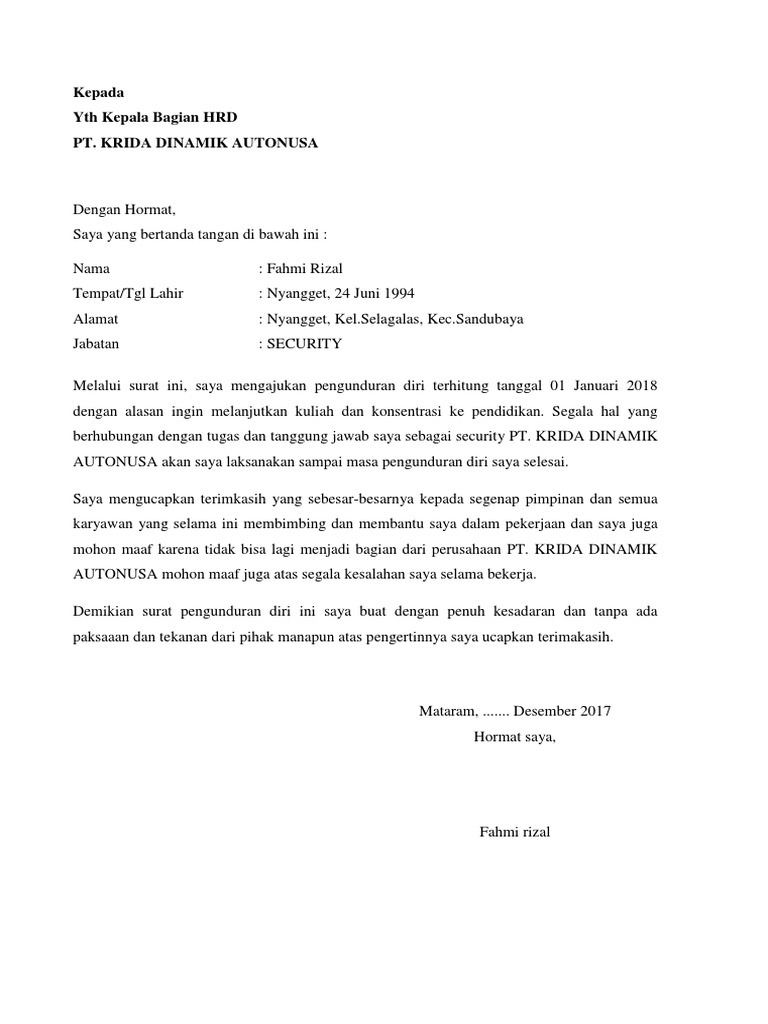 Garment Surat Pengunduran Diri Kerja Pabrik