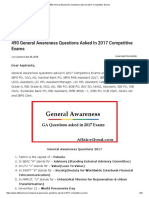 490 General Awareness Questions Asked in 2017 Competitive Exams