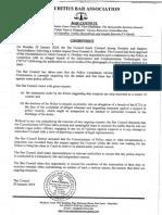 Communique Mauritius Bar Association sur l'affaire Guiqui
