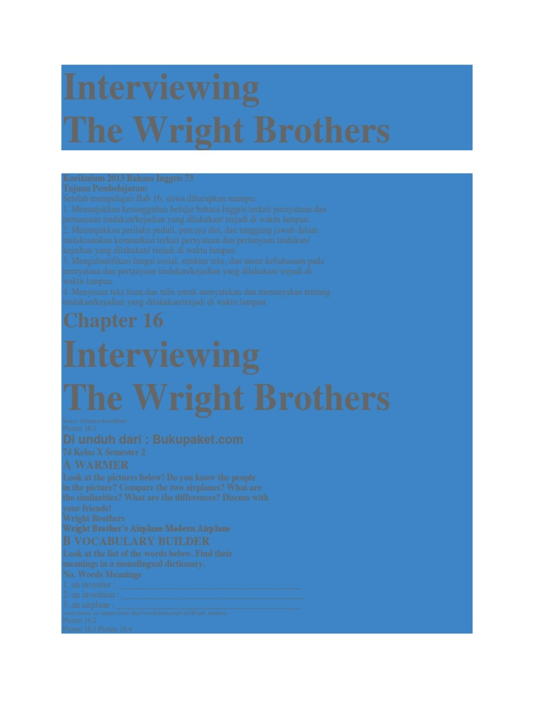 Interviewing wright brothers grammatical tense ccuart Choice Image