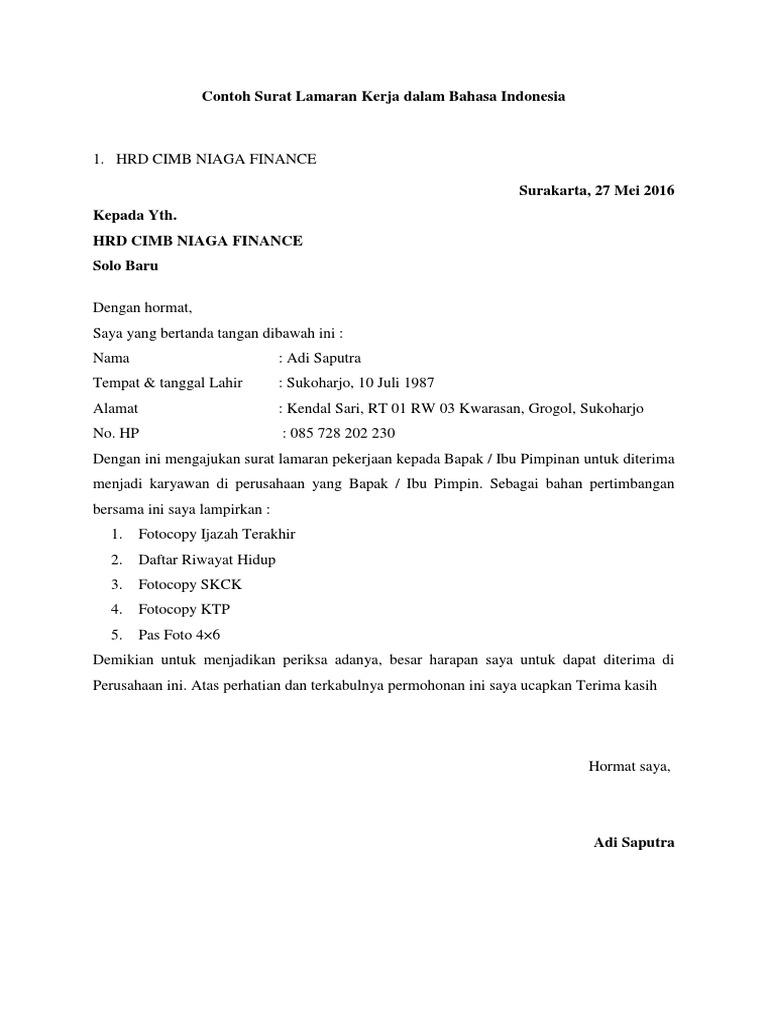 Contoh Surat Lamaran Kerja Dalam Bahasa Indonesia