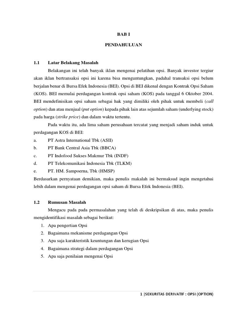 MATERI 9 OPSI OPSI. - Mekanisme perdagangan Opsi KARAKTERISTIK KEUNTUNGAN DAN KERUGIAN