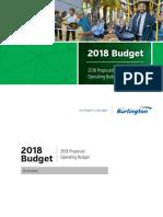 City of Burlington 2018 Proposed Operating Budget Book