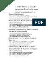 Asuntos Contra México en La Corte Interamericana de Los Derechos Humanos