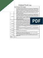 original work log  - sheet1