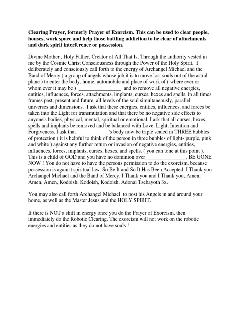 Clearing Prayer | Plane (Esotericism) | Exorcism