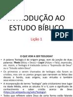 Aula 01 - Introdução Ao Estudo Bíblico