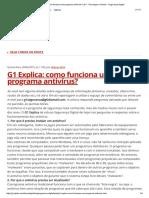 G1 Explica_ Como Funciona Um Programa Antivírus_ _ G1 - Tecnologia e Games - Segurança Digital
