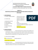 Formato No 1 - Registro de Proyecto