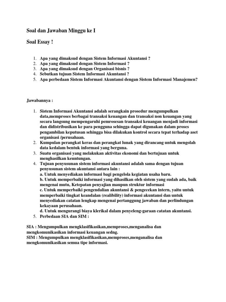 Contoh Soal Sistem Informasi Akuntansi Dan Jawabannya Ilmusosial Id