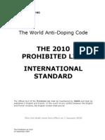 WADA Prohibited List 2010 En