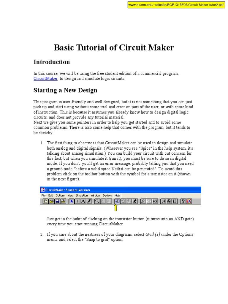 Circuit Maker Tutor2 Electronic Circuits Spice Logic Tutorial