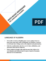 Language of Algebra