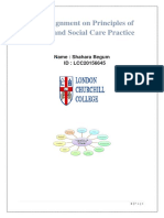 An Assignment on Principles of Health and Social Care Practice