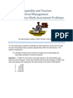 Hospitality and Tourism Hotel Management Math Assessment Problems (1)