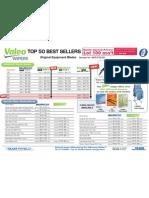 Valeo Top 50 Best Sellers Wipers 100 1007