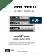 Macro Tech Series 600 1200 2400 Reference Manual 130252 Original