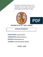 Informe de Paractica de Maquinaria Minera I