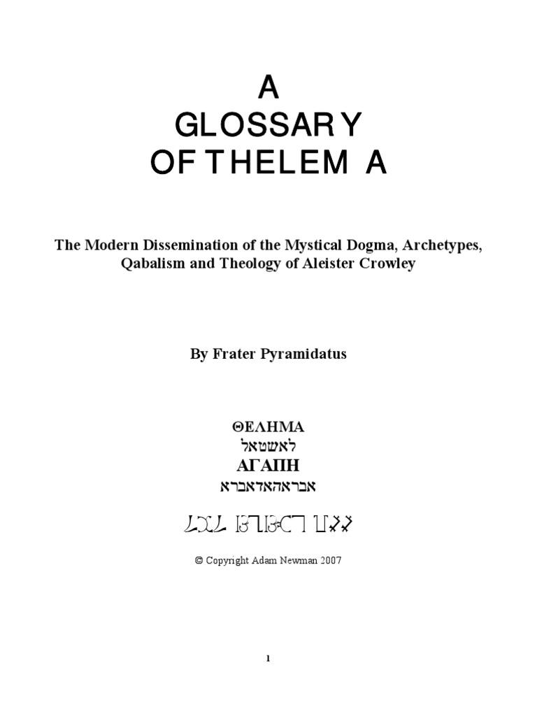 A Glossary of Thelema, by Frater Pyramidatus | Thelema | Hermetic Qabalah