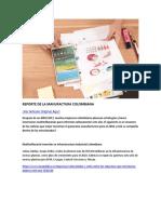 Reporte de la Manufactura Colombiana Enero 2018
