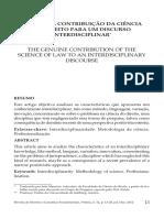 A Genuína Contribuição Da Ciência Do Direito Para Um Discurso Interdisciplinar