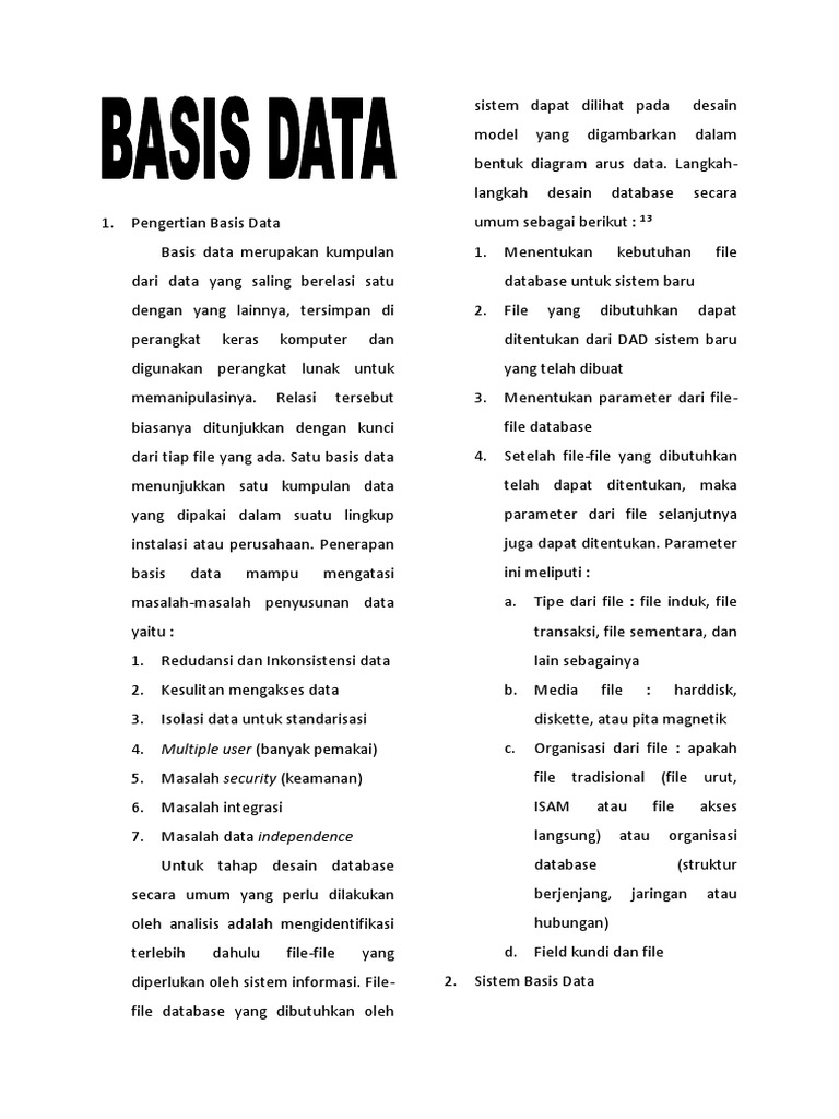 Suatu Bentuk Organisasi Dalam Basis Data Adalah Pengertian ...