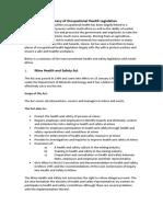 Summary of Occupational Health Legislation April 2011