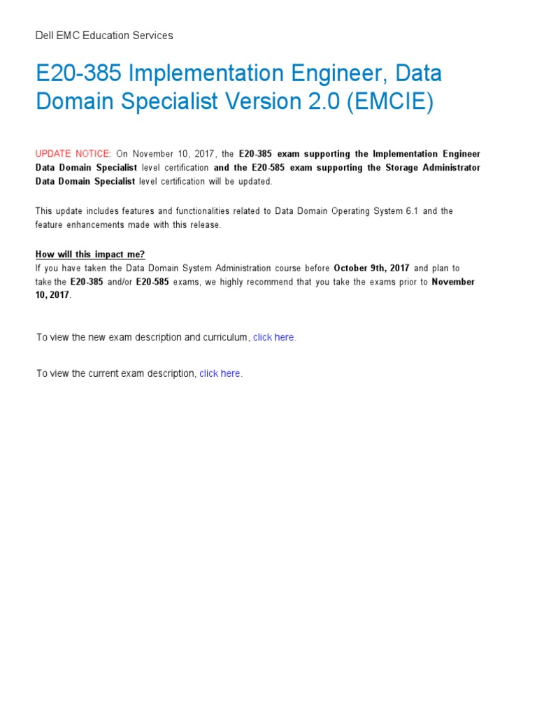 E20 385 IE Backup Recovery Data Domain Specialist Exam | Backup