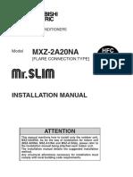 Mitsubishi Installation manual MXZ 2A20NA