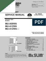 Mitsubishi VRF MU-09~12WA-service manual