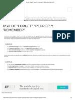 Uso de _forget_, _regret_ y _remember_ _ Gramática Inglesa _ EF