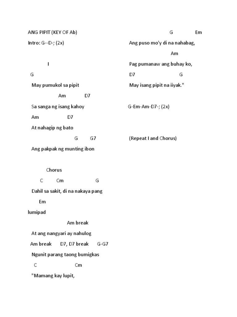 Ang Pipit Lyrics Guitar Chords Alpha Beta Demo