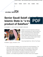 Senior Saudi Salafi Cleric the Islamic State is a True Product of Salafism for Distribution