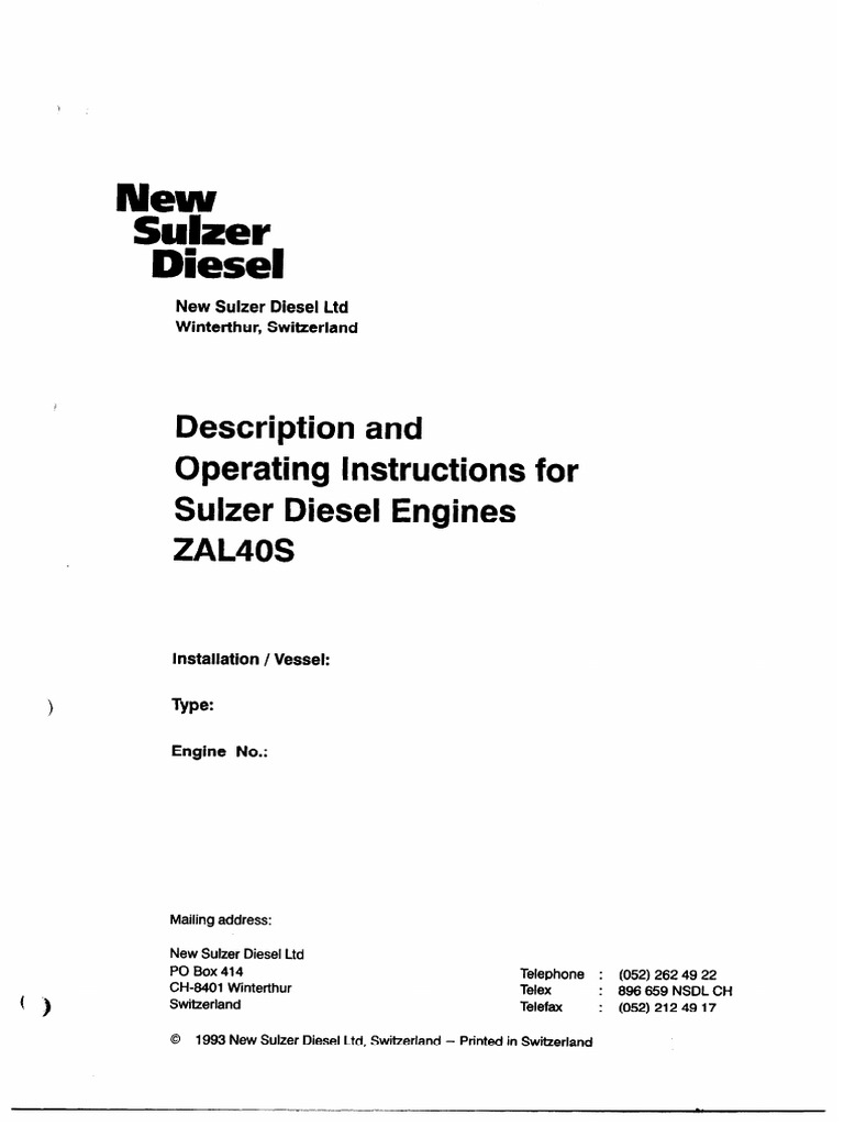 ZAL 40S Description and Operating Instruction | Internal Combustion
