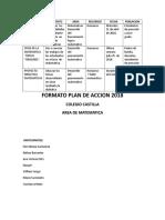 Plan de Accion 2018 Area Matematicas