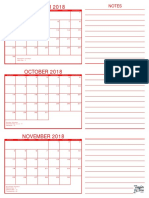 3 Month Calendar September October November 2018 Red