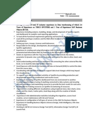 Tibco Spotfire Sample Resume 1 | Oracle Database | Microsoft Sql Server