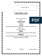 Certificate for Investigatory Project