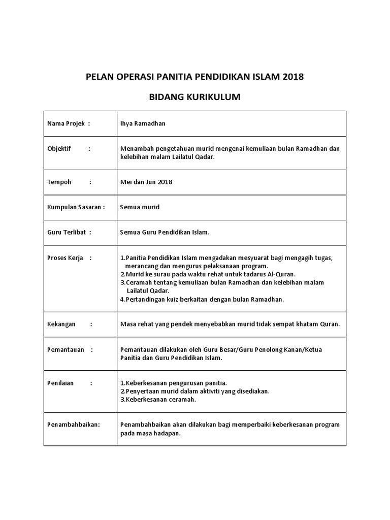 Pelan Operasi Panitia Pendidikan Islam 2018 Docx