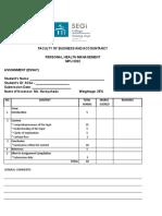 Assignment Marking Sheet - PHM
