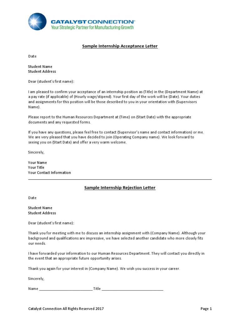 Sample internship acceptance letter 3 altavistaventures Images