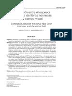 Correlación entre el espesor de la capa de fibras nerviosas y el campo visual